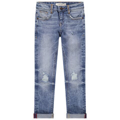 Jean effet used et crinkle avec déchirures et poches
