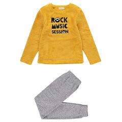 Pyjama van sherpastof en fleece met geborduurde tekst