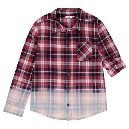 Junior - Chemise manches longues à carreaux effet tie and Dye