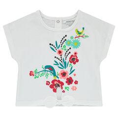 Tee-shirt manches courtes en jersey avec noeud et fleurs printées