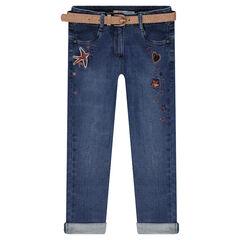 Jeans met used-effect, afneembare riem met pailletten en borduurwerk