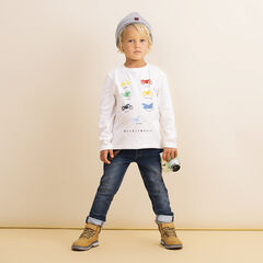 T-shirt manches longues en coton bio print fantaisie