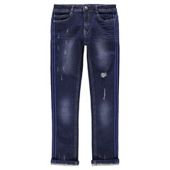 Junior - Jeans met used en crinkle effect en stroken