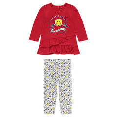 "Ensemble met tuniek met volants met ©Smileyprint en legging met print ""all-over"""