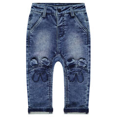Jeans met used en crinkle-effect en reliëforen