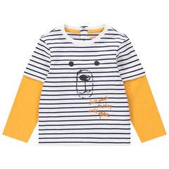 T-shirt met lange mouwen van biokatoen met 2-in-1-effect en met print met beer
