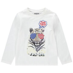T-shirt manches longues en jersey avec motif fantaisie printé