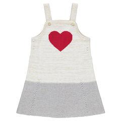 Broekjurk van tricot met rood hart van jacquard