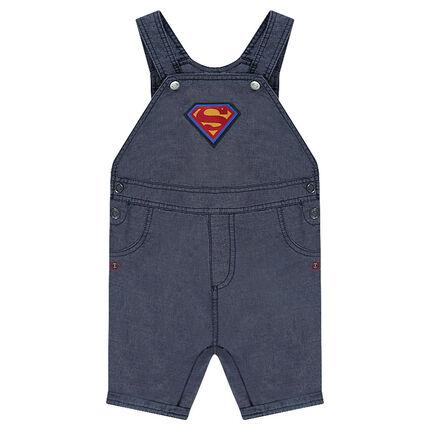 Salopette en chambray avec logo ©Warner Superman brodé
