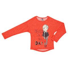 Sweat léger aspect tricot avec print fillette