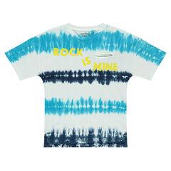 Junior - Tee-shirt manches courtes en jersey effet shibori avec inscription printée