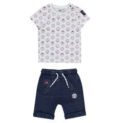 Ensemble avec tee-shirt imprimé ©Smiley all-over et bermuda effet jeans