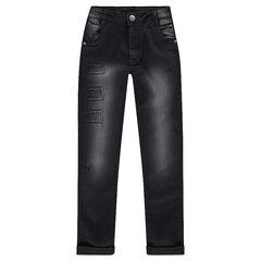 Junior - jeans met used en crinkle-effect en muntzakje met ritssluiting