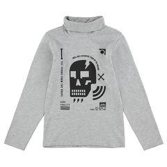 Junior - Sous-pull col roulé avec tête de mort et motifs printés