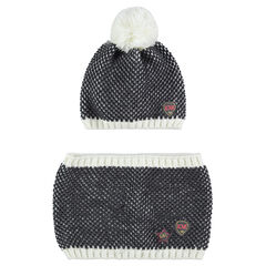 Junior - Ensemble bonnet et écharpe en tricot twisté avec badges