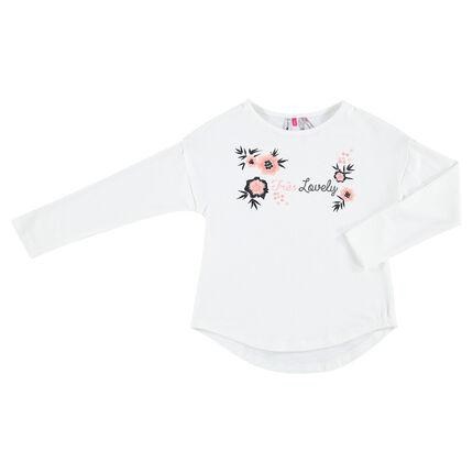 Tee-shirt manches longues en jersey avec fleurs brodées