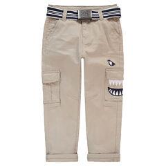 Pantalon en twill avec ceinture amovible et détails brodés