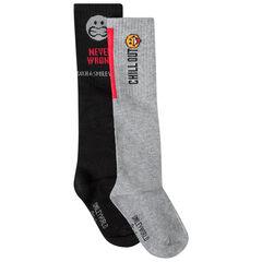 Set van 2 paar hoge sokken Smiley-patroon