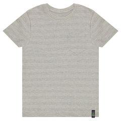 T-shirt met korte mouwen van wafelpiqué van katoen met zak
