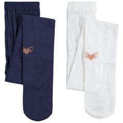 Junior - Set met 2 dunne panty's met print met hartjes met pailletjes