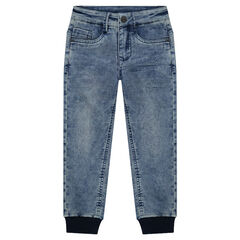 Broek met jeans- en used effect in joggingvorm