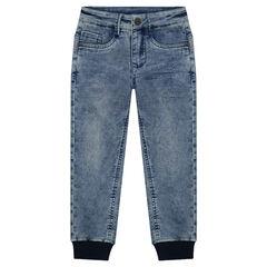 Pantalon effet jeans used forme jogging