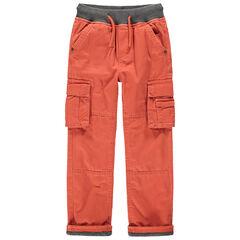 Oranje cargobroek met zakken met voering van jerseystof