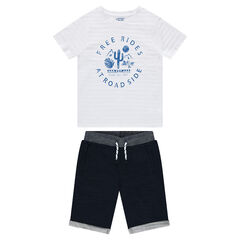 Junior - Ensemble tee-shirt printé et bermuda en molleton