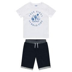 Junior - Ensemble van T-shirt met print en bermuda van molton