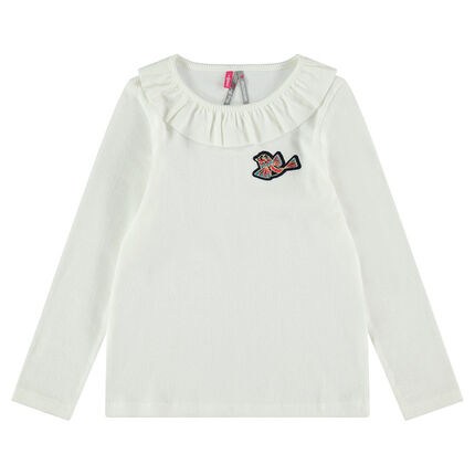 T-shirt met lange, geribde mouwen met vogelbadge en gezaagde kraag