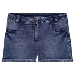 Jeansshort met used-effect en zakken