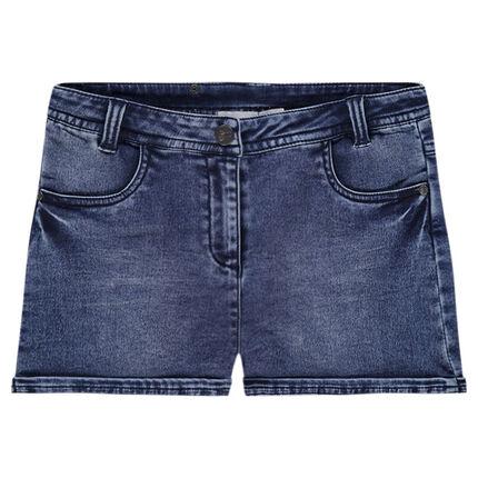 Short en jeans effet used à poches