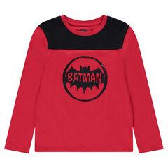 Junior - T-shirt met lange mouwen met logo van ©Warner Batman en met zwarte lovertjes