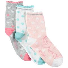 Lot de 3 paires de chaussettes à imprimés graphiques et princesses Disney
