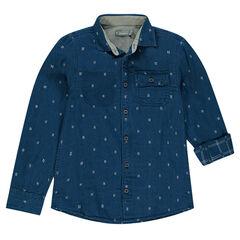 Junior - Chemise manches longues à micro motif all-over et poche