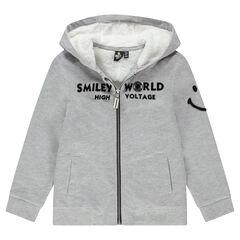 Junior - Vest van molton met kap en voering van sherpastof met Smiley van bouclé