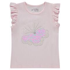Tee-shirt manches courtes avec papillon en sequins magiques
