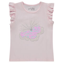 T-shirt met korte mouwen met vlinder van magische lovertjes