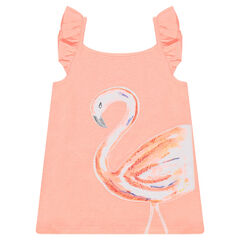 Tanktop van jerseystof met schouderbandjes met volants en roze flamingo