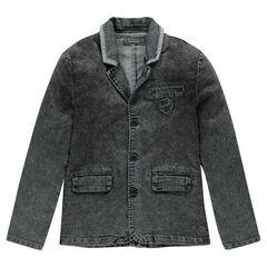 Junior - Veste en molleton effet denim col tailleur avec badge patché