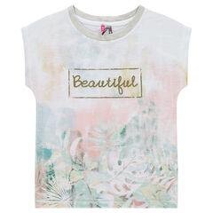 Junior - T-shirt met korte mouwen, rechte vorm en sublimatieprint met bloemen