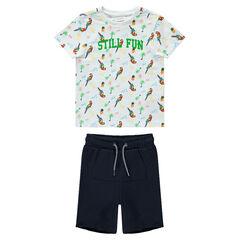 Ensemble met T-shirt met print met papegaai en effen bermuda