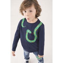 T-shirt manches longues en jersey motif serpent