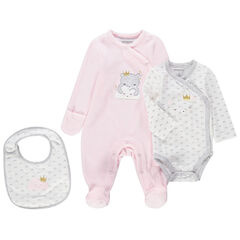 Geboorteset met pyjama van velours, body met lange mouwen en slabbetje