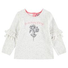 Sweater van molton met oneffen effect, borduurwerk en volants