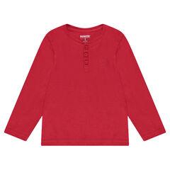 Tee-shirt manches longues en jersey uni avec ouverture au col
