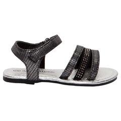 Zwarte en zilveren sandalen met croco effect