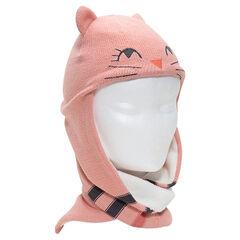 Bonnet écharpe en tricot avec oreilles en relief et doublure sherpa