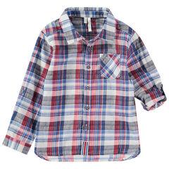 Ruitjeshemd met lange, oprolbare mouwen en zakje
