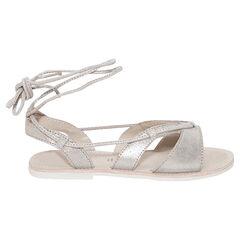Zilveren sandalen uit leder met veters rond de enkel